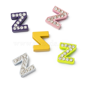 Rhinestone Slide Letter Charms, Alloy Letter Beads, Letter Z for Personalized Jewelry Bracelet, Mixed Color, about 10mm wide, 12mm long, 4.5mm thick, hole: 7x1mm(X-ZP14-Z)