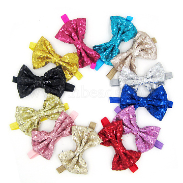 Elastic Baby Headbands for Girls, Hair Accessories, with Paillette, Bowknot, Mixed Color, 13.4inches~14.96inches(340~380mm)(OHAR-Q121-M)