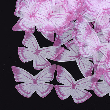 Organza Fabric, For DIY Jewelry Making Crafts, Butterfly, Camellia, 43x55mm(X-FIND-S317-11)