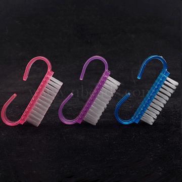 чистящие чистящие щетки для ног и ногтей, пластиковая ручка, случайный один цвет или случайный смешанный цвет, 6.2x3.3 cm(MRMJ-T010-084)