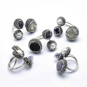 Brass Rings, with Polymer Clay Grade A Rhinestone, Pearl, Druzy Agate and Amethyst, Adjustable, Flat Round, Size 8, Platinum, 18mm(RJEW-G088-03P)