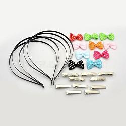 Bandes de cheveux de fer, Accessoires à cheveux en alligator plat en fer, accessoires du clip de cheveux françaises, bowknot de ruban et arcs de cheveux accessoires de costume, couleur mixte, bandes de cheveux fer: 112 mm(MAK-X0002)