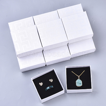 Cardboard Jewelry Boxes, for Earring & Ring & Pendant, with Sponge Inside, Square, White, 7.5x7.5x3.5cm; Inner Size: 7x7cm; No Cover: 7cm long, 7cm wide, 3mm thick; Cover: 7.5cm long, 7.5cm wide, 2cm thick(X-CBOX-N012-23)