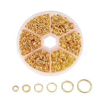 1 Box Iron Split Rings, 4mm/5mm/6mm/7mm/8mm/10mm, Golden(IFIN-X0026-G-NF-B)