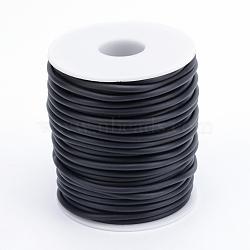Tuyau creux corde en caoutchouc synthétique tubulaire pvc, enroulé aurond de plastique blanc bobine, noir, 4mm, trou: 2 mm; environ 15 m / rouleau(RCOR-R007-4mm-09)