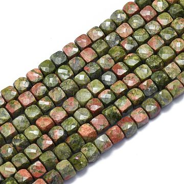 Natural Unakite Beads Strands, Cube, Faceted, 6~6.5x6~6.5x6~6.5mm, Hole: 1mm; about 58pcs/Strand, 15.55 inches(39.5cm)(G-K310-B11)