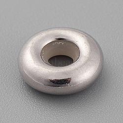 Perles 925 en argent sterling, avec caoutchouc à l'intérieur, perles de curseur, perles de bouchage, rondelle, platine, 9.5x3mm, Trou: 3mm(X-STER-K037-001D)