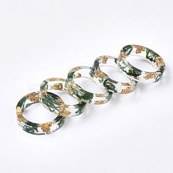 cmолы кольца, с сухой травой, золотая фольга, зеленый, 17.5 mm(RJEW-S043-04C-02)