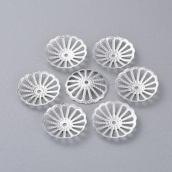 Coupelles, fer, couleur argentée, environ 13 mm de diamètre, épaisseur de 2mm, Trou: 2mm(X-E014Y-S)
