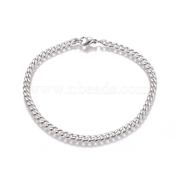 304 Stainless Steel Curb Chain Bracelets, with Lobster Claw Clasps, Stainless Steel Color, 8-1/4 inches(21cm) long; 4x5mm(BJEW-I274-01S)