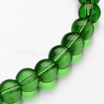 Glass Round Bead Strands, Green, 4mm, Hole: 1mm; about 75~80pcs/strand, 11 inches(X-GLAA-I028-4mm-04)