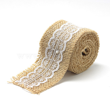 Burlap Ribbon, Hessian Ribbon, Jute Ribbon, with Cotton Ribbons, for Jewelry Making, Tan, 2 inches(50mm), about 2.187yards/roll(2m/roll), 12rolls/bag(OCOR-R071-13)