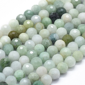 Natural Myanmar Jade Beads Strands, Faceted, Round, 8mm, Hole: 1mm; about 49pcs/strand, 15.35 inches(39cm)(G-D0013-50)