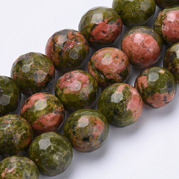 Natural Unakite Beads Strands, Faceted, Round, 6mm, Hole: 1mm; about 62pcs/strand, 15.3inches(G-S281-14-6mm)