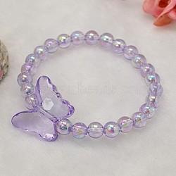 Bracelets pour enfants en acrylique transparent pour cadeau de fête des enfants, lilas, 45mm(BJEW-JB00613-05)