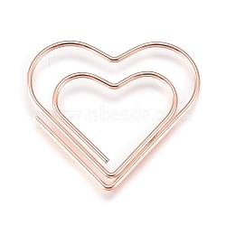 Heart Shape Iron Paperclips, Cute Paper Clips, Funny Bookmark Marking Clips, Rose Gold, 27x29.5x1mm(X-TOOL-L008-001B)