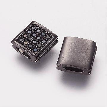 9mm Black Square Brass+Cubic Zirconia Beads