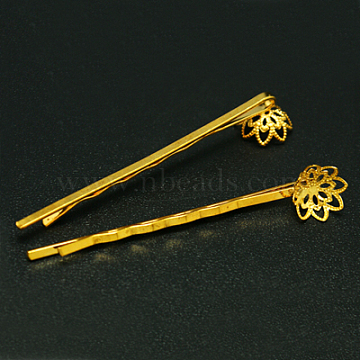 Iron Hair Bobby Pin Findings, with Brass Flower Tray, Golden, 58mm(X-IFIN-I007-G)