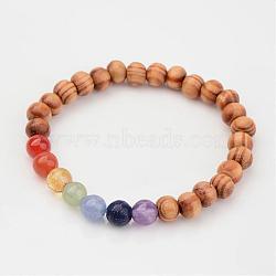Perles en bois enfants étirer bracelets, avec des perles naturelles de pierres précieuses, burlywood, 45mm(BJEW-JB02328)