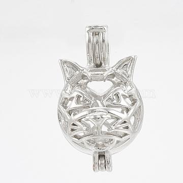 Brass Locket Pendants, Cage Pendants, Hollow, Wolf, Platinum, 21x12x14mm, Hole: 4x2.5mm; Inner Measure: 10mm(KK-S342-33P)