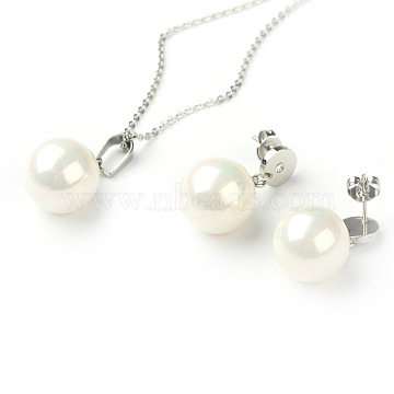 Valentines Gift for Her 2015 316L Surgical Stainless Steel Jewelry Sets, Necklaces and Ear Studs, with Shell Pearl Beads, Stainless Steel Color, 17.3 inches, 19x14mm, Pin: 0.7mm(SJEW-E024-18C)