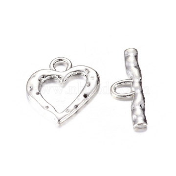 Antique Silver Heart Tibetan Style Toggle Clasps, Lead Free and Cadmium Free, Size: Heart: about 26x23x2mm, Bar: 31x10x2mm, hole: 5mm(X-TIBE-S002-AS-LF)