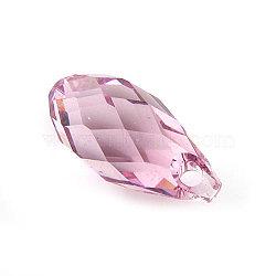 pendentifs en cristal autrichien, goutte de briolette, rose clair, 5.5 mm de large, 11 mm de long(X-6010-11X5.5MM-223)