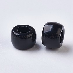 Resin Large Hole Beads, Barrel, Black, 8x5~6mm, Hole: 4mm(X-RESI-WH0002-06B)