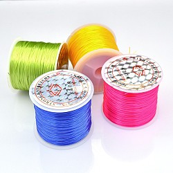 Flat Elastic Crystal String, Elastic Beading Thread, for Stretch Bracelet Making, Mixed Color, 0.6mm, about 50m/roll(EW-J003-0.6mm-M)