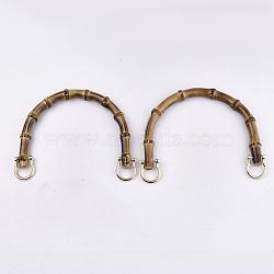 бамбуковые ручки, Сплав с застежками, для замены ремней для мешков, золотой, 109~112x150~155x14~15 mm(FIND-T054-01G)