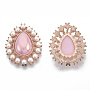 Alloy Flat Back Cabochons, with ABS Plastic Imitation Pearl Beads, AB Color Plated, Rose Gold, Teardrop, Pink, 32x26x8~9mm