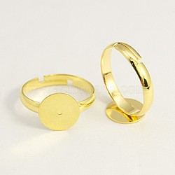 Brass Pad Ring Base Findings, Adjustable, Golden, Lead Free and Cadmium Free, Size: 7, 17mm Inner Diameter(X-EC022-G)