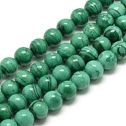 """Chapelets de perles en malachite naturelle, rond, 8mm, trou: 1mm; environ 50 pcs/chapelet, 15.7""""(G-R432-11-8mm)"""