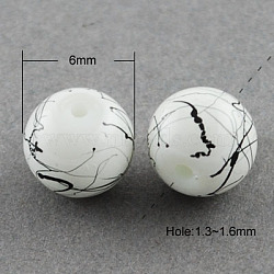 Drawbench Glass Beads Strands, Round, White, 6mm, Hole: 1.3~1.6mm, about 133pcs/strand, 31.4 inches(X-GLAD-S074-6mm-74)