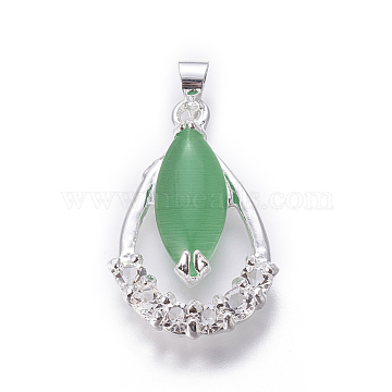 Cat Eye Pendants, with Cubic Zirconia and Alloy Findings, Teardrop, Silver Color Plated, LimeGreen, 25x16x5mm, Hole: 4x5mm(PALLOY-F228-08S)