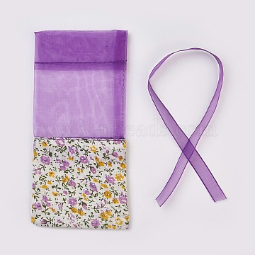 Lavender Sachet Empty Bag Mesh Stitching Beam Pocket, For Storage Dry Flowers Seeds, with Ribbon, Dark Orchid, 15.5~16.5x7~7.5cm(X-OP-WH0002-01C)
