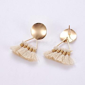 White Polyester Stud Earrings