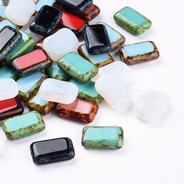 Retro Czech Glass Beads,  Rectangle, Mixed Color, 16x10x4.5mm, Hole: 1mm, about 60pcs/bag(GLAA-I045-10B)