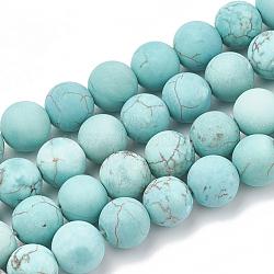Естественный зеленый бирюзовый нитей бисера, матовые, круглые, 8~8.5 мм, Отверстие : 1 мм; около 47 шт / нитка, 15.5