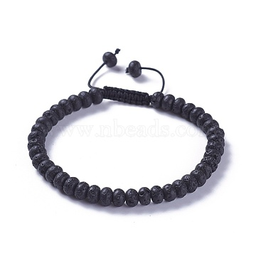 Adjustable Nylon Cord Braided Bead Bracelets, with Natural Lava Rock Beads, 2-1/4 inches~2-7/8 inches(5.8~7.2cm)(BJEW-F369-B11)