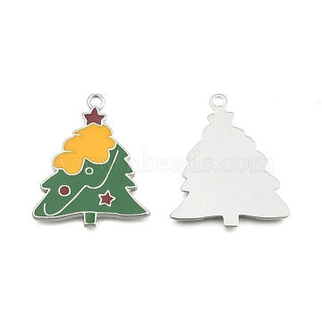 Alloy Enamel Pendants, Lead Free and Cadmium Free, Platinum Color, Christmas Tree, Yellow and Green, 37x31x2mm, Hole: 2mm(X-EA2941Y)