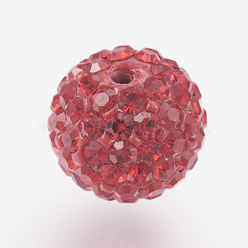 Czech Rhinestone Beads, PP9(1.5~1.6mm), Pave Disco Ball Beads, Polymer Clay, Round, 227_Light Siam, 7.5~8mm, Hole: 1.8mm, 70~75pcs rhinestones/ball.(RB-F022-PP9-8mm-TB07)