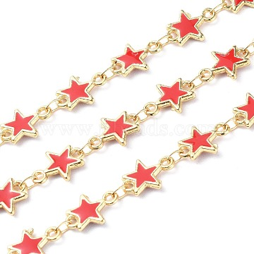 Handmade Alloy Enamel Star Link Chains, with Spool, Soldered, Long-Lasting Plated, Lead Free & Cadmium Free, Golden, Red, 11x8x1.6mm(ENAM-F138-01A-RS)