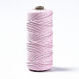 Cotton String Threads, Macrame Cord, Decorative String Threads, for DIY Crafts, Gift Wrapping and Jewelry Making, Pearl Pink, 3mm, about 109.36 yards(100m)/roll