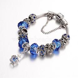 Bracelets en alliage avec perles européennes avec strass, avec des perles de verre et chaîne en laiton, bleu, 190mm(BJEW-L602-02A)