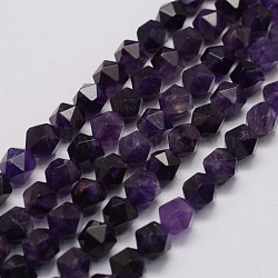 Natural Amethyst Bead Strands, Star Cut Round Beads, Faceted, 10x9x9mm, Hole: 1mm; about 40pcs/strand, 15.3inches(39cm)