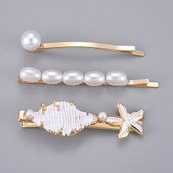 ensemble de pinces à cheveux en fer, avec de l'acrylique perle d'imitation, résultats d'émail et d'alliage, or, 62x10 mm; 70x7 mm; 61x17.5 mm; 3 pcs / set(PHAR-E016-03)