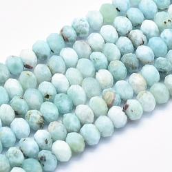 """Chapelets de perles en larimar naturel, grade AB, facette, rondelle, 6x4mm, trou: 0.8mm; environ 89 pcs/chapelet, 15.5""""(G-K256-57B)"""