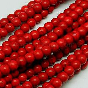 1 Strand Synthetic Turquoise Round Beads Strands, Dyed, Crimson, 8mm, Hole: 1mm, about 50pcs/strand, 15.35 inches(X-TURQ-G106-8mm-02H)