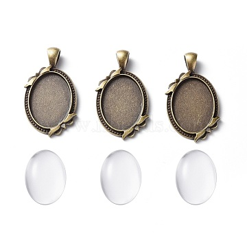 DIY Pendant Making, Tibetan Style Alloy Pendant Cabochon Settings and Transparent Oval Glass Cabochons, Antique Bronze, 42x24x3mm, Hole: 4x7mm(DIY-X0099-02AB)